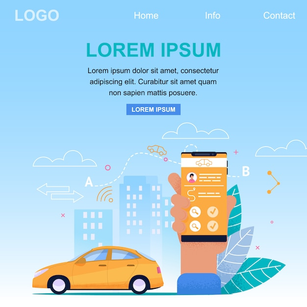 Zielseiten-webvorlage für den taxi online application service. gelbes auto im stadtbild und im arm, die smartphone halten. fahrkartenantrag Premium Vektoren