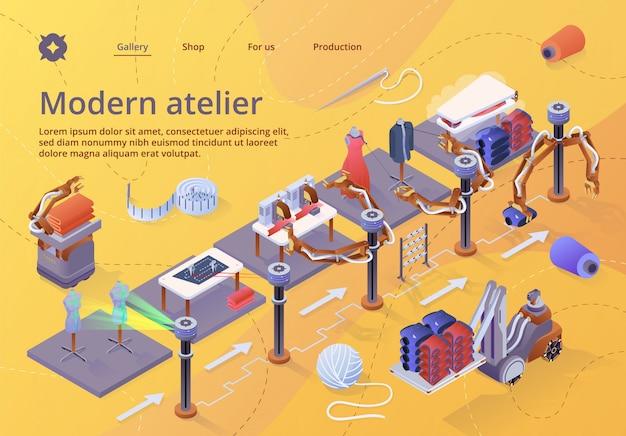 Zielseiten-webvorlage für hersteller von fasern, maschinen und ausrüstungen Premium Vektoren