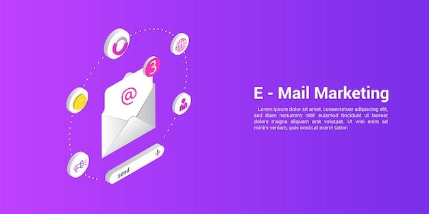 Zielseiten-webvorlage für marketing-e-mails oder mailing-agenturen Premium Vektoren