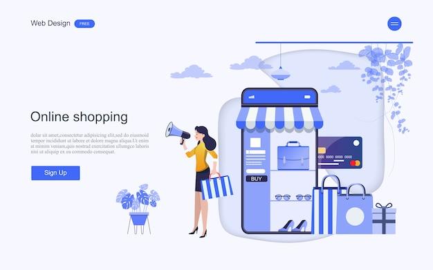 Zielseiten-webvorlage für online-einkäufe und -dienste Premium Vektoren