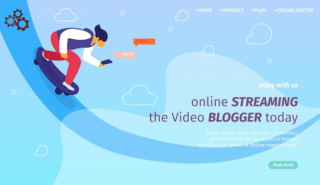 Zielseiten-webvorlage für online-streaming, vlogs, youtubers Premium Vektoren
