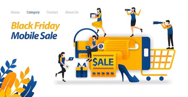 Zielseiten-webvorlage für shop für black friday-rabatte auf mobilgeräten, suchen und finden verschiedener black friday-angebote im internet. Premium Vektoren