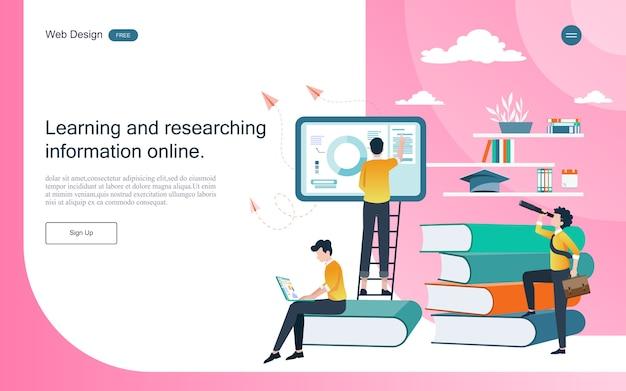 Zielseiten-webvorlage. konzept der bildung für online-lernen, training und kurse. Premium Vektoren
