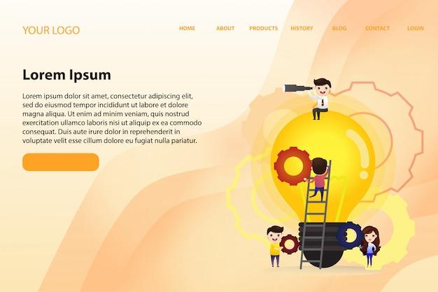 Zielseiten-webvorlage mit teamwork, die neue ideen findet, kleine leute starten einen mechanismus Premium Vektoren