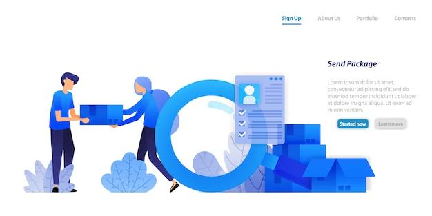 Zielseiten-webvorlage. pakete an kunden liefern. vertrieb von e-commerce-produkten mit umfassendem schutz der kundendaten Premium Vektoren