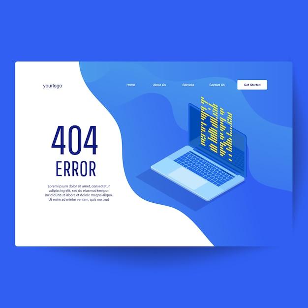 Zielseiten-webvorlage. seite mit 404-fehlerseite auf dem laptop-display. wartungsfehler landing page Premium Vektoren