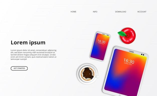 Zielseiten-webvorlage. smarthphone-tablettengerät mit draufsicht des kaffees Premium Vektoren