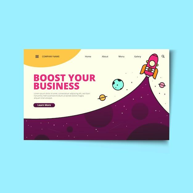 Zielseiten-webvorlage startup business Premium Vektoren