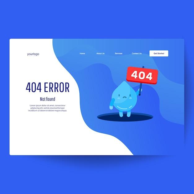 Zielseiten-webvorlage. wassertropfen hand zeigt aus loch eine meldung über seite nicht gefunden fehler 404 Premium Vektoren