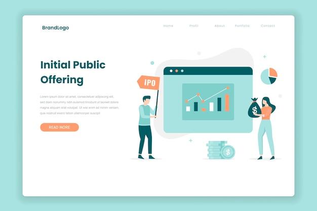 Zielseitenkonzept für den börsengang. illustration für websites, landing pages, mobile anwendungen, poster und banner. Premium Vektoren