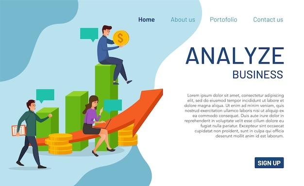 Zielseitenkonzept zur analyse des geschäfts. modernes analysegeschäft für website und mobile app. einfach zu lesen und zu bearbeiten Premium Vektoren