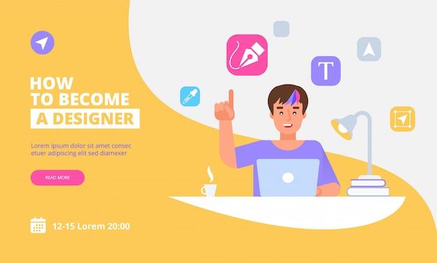 Zielseitenschablone des grafikdesigners concept Premium Vektoren