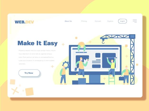 Zielseitenschablone, entwickler und wartung netz-vektor-illustration Premium Vektoren