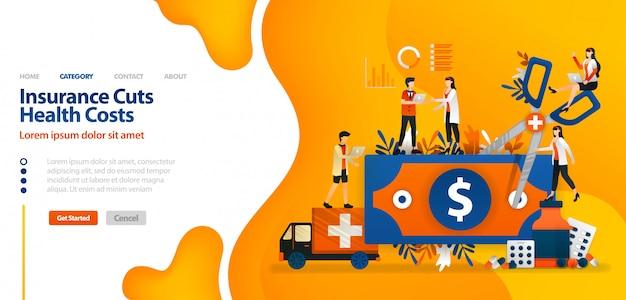 Zielseitenschablone mit vektorillustration der versicherung senkt gesundheitskosten. geld mit einer riesigen schere für den finanzsektor Premium Vektoren