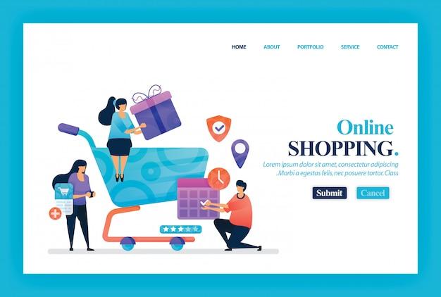 Zielseitenvektordesign des on-line-einkaufens Premium Vektoren