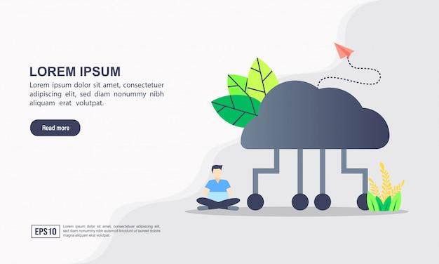 Zielseitenvorlage. datenverarbeitungsillustrationskonzept der wolke mit charakter. Premium Vektoren