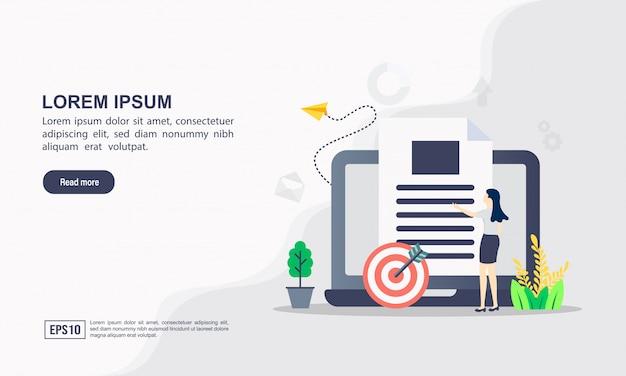 Zielseitenvorlage. datenwissenschafts-illustrationskonzept mit charakter Premium Vektoren