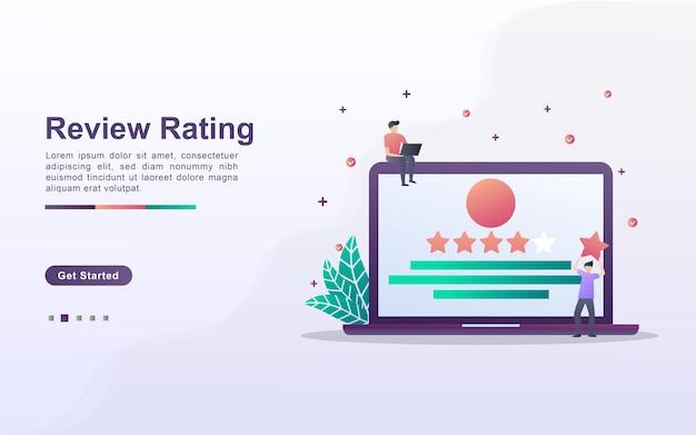Zielseitenvorlage der bewertungsbewertung Premium Vektoren