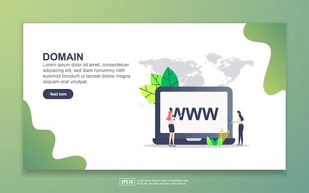 Zielseitenvorlage der domain. modernes flaches konzept des entwurfes des webseitenentwurfs für website und bewegliche website. Premium Vektoren