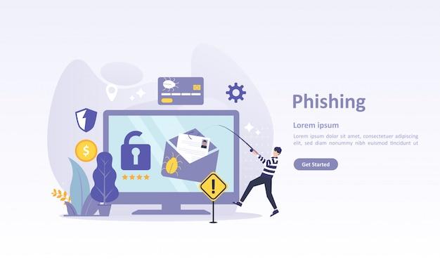 Zielseitenvorlage der internet-sicherheit mit charakter Premium Vektoren
