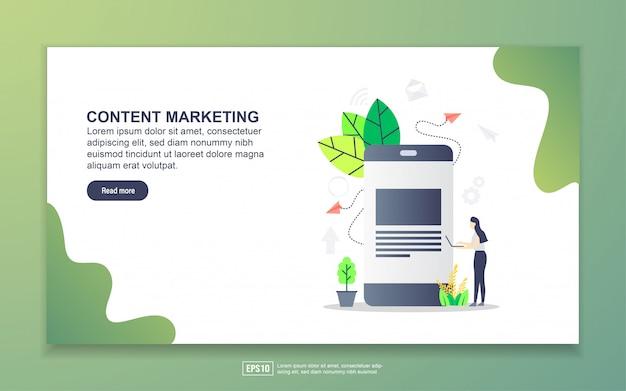 Zielseitenvorlage für content-marketing. modernes flaches konzept des entwurfes des webseitenentwurfs für website und bewegliche website. Premium Vektoren