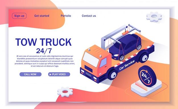Zielseitenvorlage für die website mit dem angebot der abschleppwagenunterstützung Premium Vektoren