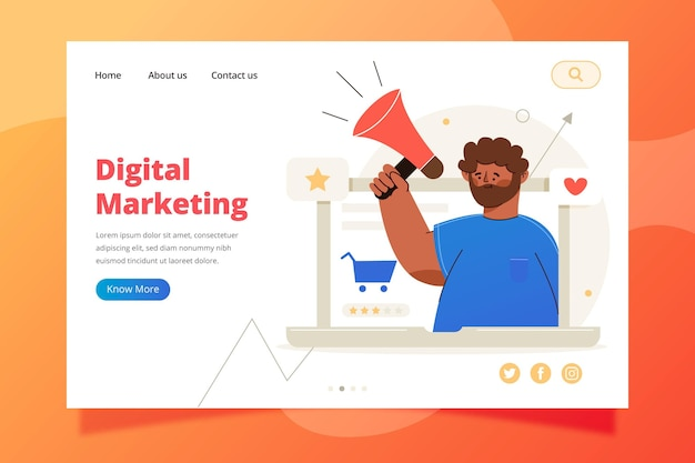 Zielseitenvorlage für digitales marketing Premium Vektoren