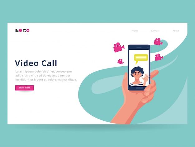 Zielseitenvorlage für videoanrufe Premium Vektoren