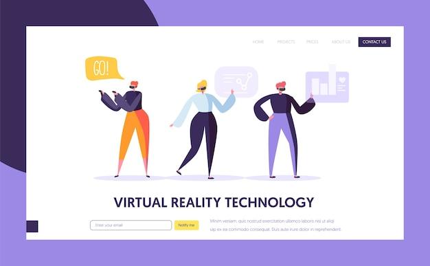 Zielseitenvorlage für virtuelle realität. augmented reality-konzept für website oder webseite. Premium Vektoren