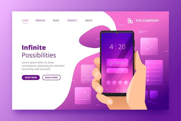 Zielseitenvorlage mit smartphone Kostenlosen Vektoren