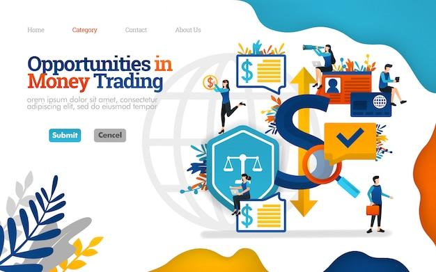 Zielseitenvorlage. möglichkeiten im geldhandel. investitionsentscheidungen treffen. vektor-illustration Premium Vektoren