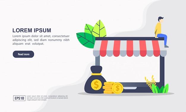 Zielseitenvorlage. vector illustration des on-line-einkaufens u. des e-commerce-konzeptes mit dem on-line-einkaufen und -marketing