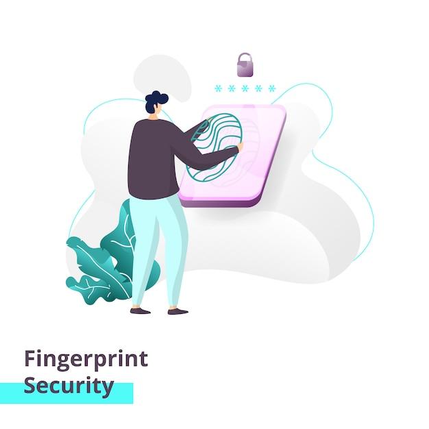 Zielseitenvorlage von fingerprint security Premium Vektoren