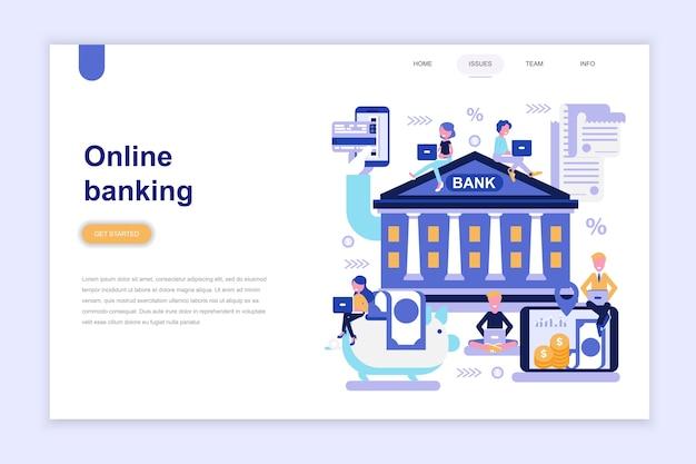 Zielseitenvorlage von online-banking Premium Vektoren