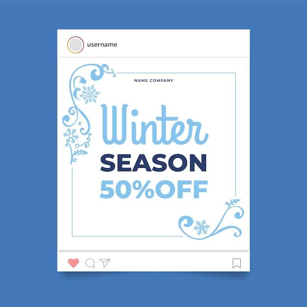 Zier winter instagram post vorlage Kostenlosen Vektoren