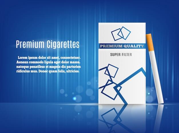 Zigaretten-anzeige-realistische zusammensetzung Kostenlosen Vektoren