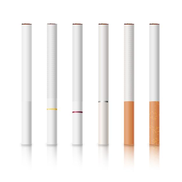 Zigaretten mit weißen und gelben filtern eingestellt Premium Vektoren