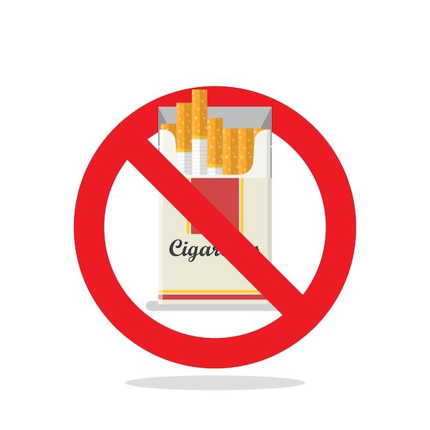 Zigaretten-pack verbotszeichen Premium Vektoren