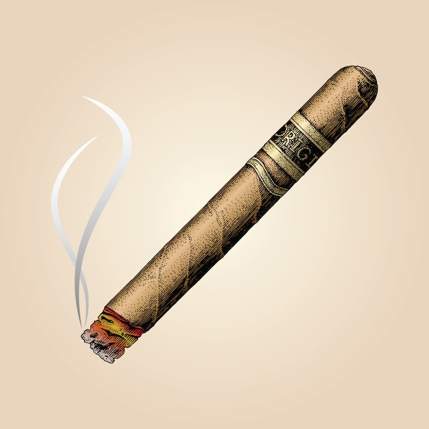 Zigarrenhandzeichnung vintage-stil Premium Vektoren