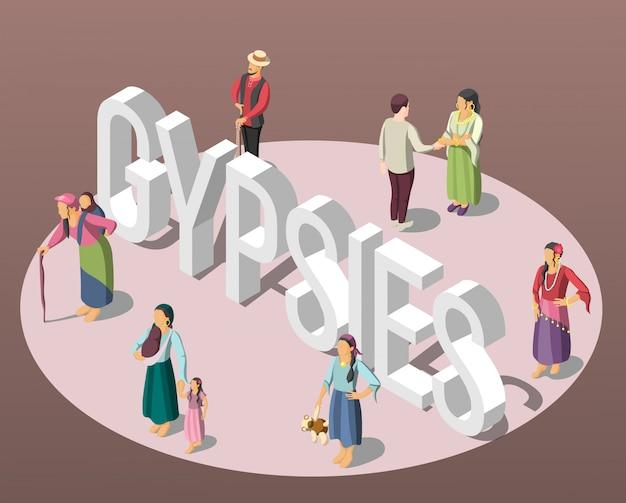Zigeuner isometrische hintergrund Kostenlosen Vektoren