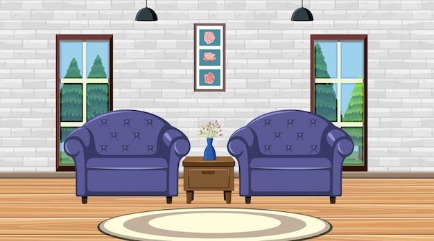 Zimmer mit zwei lila sitzen Premium Vektoren