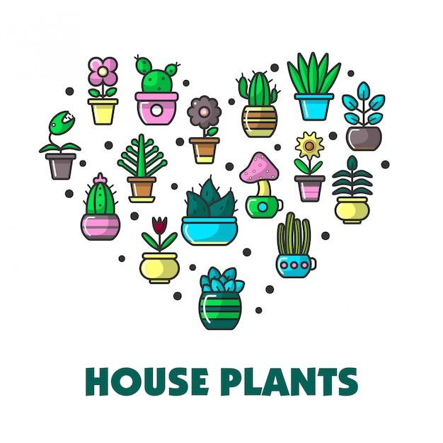 Zimmerpflanzen-promoplakat mit topfblumen im herzen Premium Vektoren