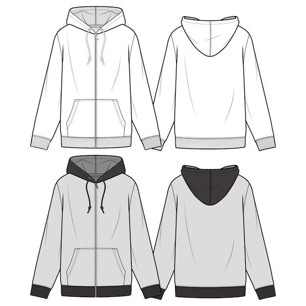 Zip-up hoodie mode flache skizze vorlage Premium Vektoren