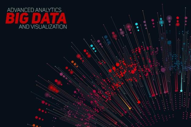 Zirkuläre graustufenvisualisierung mit großen datenmengen. informationsästhetisches design. komplexität visueller daten. grafische visualisierung komplexer datenthreads. Kostenlosen Vektoren