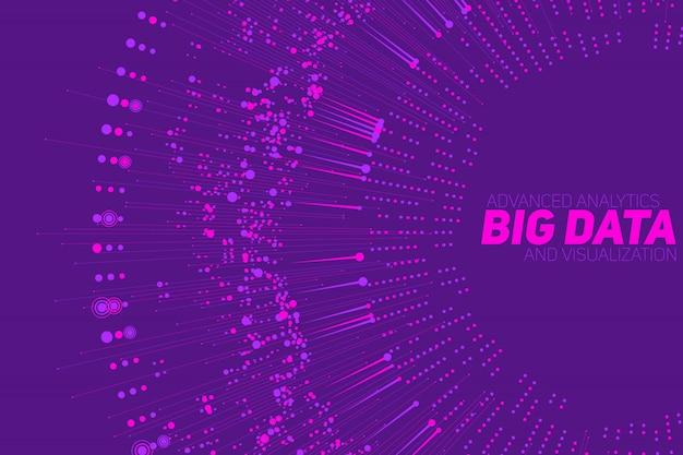 Zirkuläre violette big-data-visualisierung. komplexität visueller daten. abstrakter datengraph Kostenlosen Vektoren
