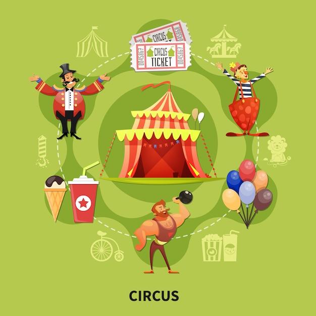 Zirkus-cartoon-illustration Kostenlosen Vektoren