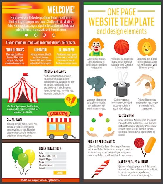 Zirkus eine seite website-vorlage und design-elemente Premium Vektoren