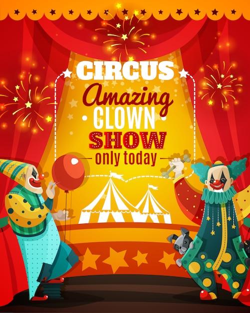 Zirkus-erstaunliches clown-show-mitteilungs-plakat Kostenlosen Vektoren