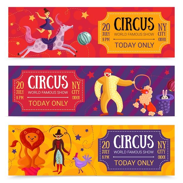 Zirkus horizontale banner gesetzt Kostenlosen Vektoren