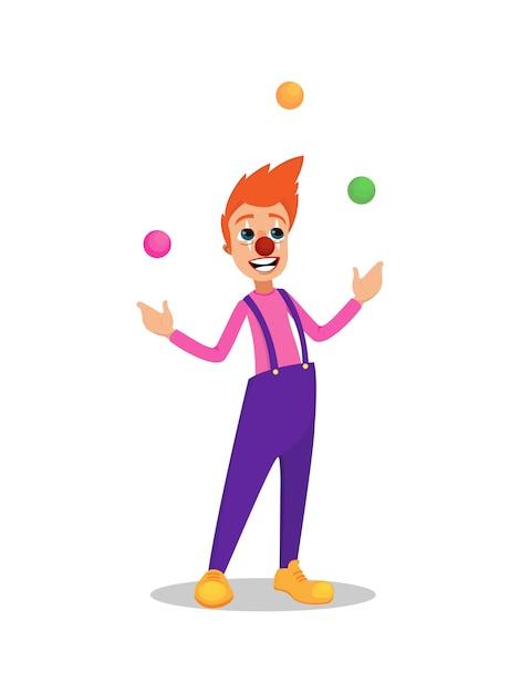 Zirkus-jongleur-clown comic actor isolated auf weiß Premium Vektoren